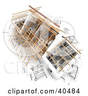Clipart Illustration Of A 3d House Prepped For A New Roof On Top Of Blueprints by Frank Boston