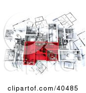 Clipart Illustration Of An Aerial View Of Red And White 3d Home Floor Plans by Frank Boston #COLLC40485-0095