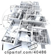Clipart Illustration Of A 3d Model Flat On Blueprints