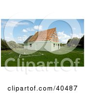 Clipart Illustration Of A New 3d Residential House Under Construction On A Blueprint Lawn