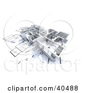 Clipart Illustration Of A 3d Flat Model On Blueprints