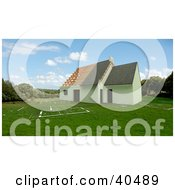 Clipart Illustration Of A 3d Home Under Construction On Green Grass With Blueprint Plans