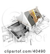 Clipart Illustration Of A Nearly Complete 3d House Over Blueprints