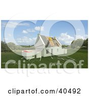 Clipart Illustration Of A New 3d Home Under Construction On A Blue Print Lawn