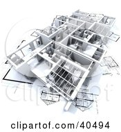 Clipart Illustration Of A Flat 3d Model On Blueprints by Frank Boston #COLLC40494-0095