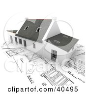 Clipart Illustration Of A 3d Home With Skylights Resting On Blueprints by Frank Boston