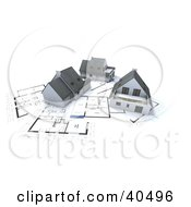 Clipart Illustration Of Three 3d Homes On Blueprints