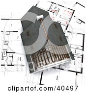 Aerial View Of A 3d House On Blueprint Papers