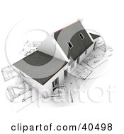 Clipart Illustration Of An Aerial View Of A 3d Home With Skylights Over Blueprints