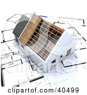 Clipart Illustration Of A 3d Stick Built Home Without A Roof On Blueprints