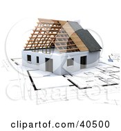 Clipart Illustration Of A 3d House On Blue Print Plans by Frank Boston #COLLC40500-0095