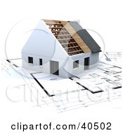 Clipart Illustration Of A 3d Residential Home Over Plans