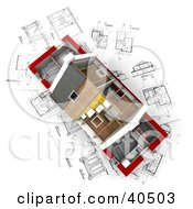 Clipart Illustration Of An Aerial View Of A 3d Home With Partial Insulation And Roofing On Blueprints