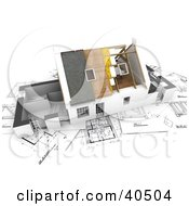 Clipart Illustration Of A 3d House With Roofing And Insulation Being Installed On Top Of Blueprints