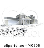 Clipart Illustration Of A 3d House With A Garage On Top Of Blueprints