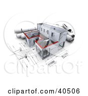 Clipart Illustration Of A 3d Sketched Building With Rolled Blueprints