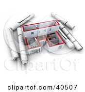Clipart Illustration Of Rolled Blueprints Beside A 3d Model Home
