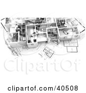 Clipart Illustration Of A 3d Flat On Blueprints