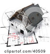 Clipart Illustration Of A 3d Home On Blueprints With Red Adjustments by Frank Boston #COLLC40509-0095
