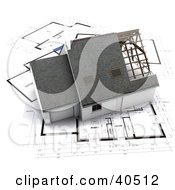 Clipart Illustration Of A 3d Residence Atop Blueprints