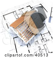 Clipart Illustration Of A 3d Residential Home Model Over Blue Prints