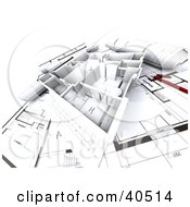 Clipart Illustration Of A 3d Flat Home Model On Blueprints