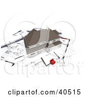 Clipart Illustration Of A Tiny Red Chair On Blueprints By A 3d Two Story Model Home