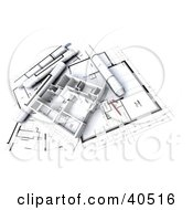 Clipart Illustration Of A House Flat 3d Model On Blueprints by Frank Boston #COLLC40516-0095