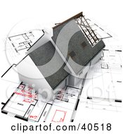Clipart Illustration Of A 3d House Resting On Blueprints With Red Notes