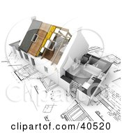 Clipart Illustration Of A Nearly Complete 3d Home Over Blueprints by Frank Boston #COLLC40520-0095