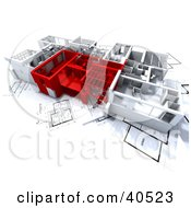 Clipart Illustration Of Red And White 3d Home Floor Plans