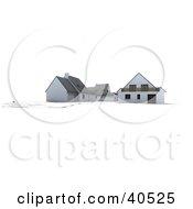 Clipart Illustration Of A 3d Neighborhood Set Up On Blueprints