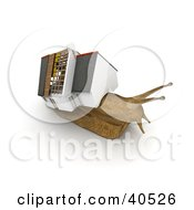 Clipart Illustration Of A Relocating 3d Snail With A House On His Back