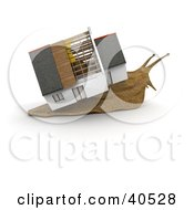 Clipart Illustration Of A 3d Snail Moving A Partially Built Home On His Back