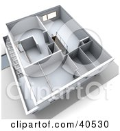 Clipart Illustration Of A 3d Aerial View Of A Floor Plan With Empty Rooms