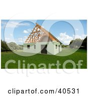Clipart Illustration Of A 3d House Awaiting Its New Roof In A Green Landscape