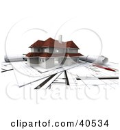 Clipart Illustration Of A 3d Two Story Home On Top Of Blueprints by Frank Boston #COLLC40534-0095