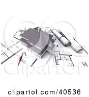 Clipart Illustration Of A 3d Two Story House On Top Of Blueprints