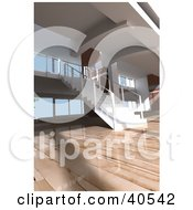 Clipart Illustration Of A Modern Apartment Interior With Gorgeous Wooden Floors And A Staircase