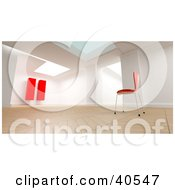 Clipart Illustration Of A 3d Room Interior With A Single Red Chair Facing A Large Red Pause Sign Symbolizing Relaxation And Reflection