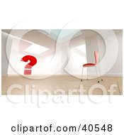 Clipart Illustration Of A 3d Room Interior With A Single Red Chair Facing A Large Red Question Mark Symbolizing Wonder And Confusion