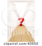 Red 3d Question Mark At The End Of A Hallway With Parquet Wood Flooring