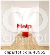 Clipart Illustration Of Help Over A Red Cube In A 3d Hallway Interior With Wooden Flooring