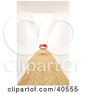 Clipart Illustration Of A Red 3d Chair At The End Of A Hallway With Parquet Wood Flooring