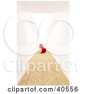 Clipart Illustration Of A Modern Red 3d Chair At The End Of A Hallway With Parquet Wood Flooring