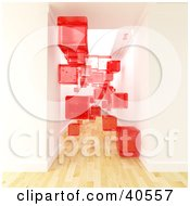 Clipart Illustration Of Transparent Red 3d Cubes Floating In A Hallway With Light Wooden Flooring