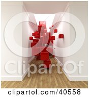 Clipart Illustration Of A 3d Hallway With Aged Wood Flooring Filled With Floating Red Cubes
