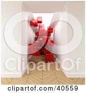 Red 3d Cubes Floating In A Hallway With Parquet Wooden Flooring