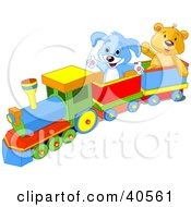 Clipart Illustration Of A Happy Blue Puppy And Friendly Teddy Bear Enjoying A Train Ride by Pushkin