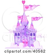 Clipart Illustration Of A Purple Castle With Pink Turrets And Heart Flags Floating In The Clouds by Pushkin
